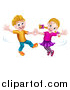 Vector Illustration of a Happy White Boy and Girl Dancing by AtStockIllustration