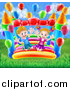 Vector Illustration of a Happy White Boy and Girl Jumping on a Bouncy House Castle in a Park, with Party Balloons by AtStockIllustration