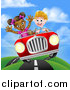 Vector Illustration of a Happy White Boy Driving a Black Girl and Catching Air in a Convertible Car on a Country Road by AtStockIllustration