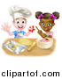 Vector Illustration of a Happy White Boy Making Making Star Cookies and Black Girl Making Frosting by AtStockIllustration