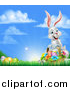 Vector Illustration of a Happy White Easter Bunny Rabbit with a Basket of Eggs and Flowers in the Grass, with Sky Text Space by AtStockIllustration