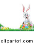 Vector Illustration of a Happy White Easter Bunny with a Basket of Eggs and Flowers in the Grass, with Text Space by AtStockIllustration