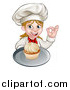 Vector Illustration of a Happy White Female Chef Baker Gesturing Ok and Holding a Cupcake on a Tray by AtStockIllustration