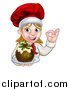 Vector Illustration of a Happy White Female Chef Gesturing Ok and Holding a Christmas Pudding by AtStockIllustration