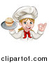 Vector Illustration of a Happy White Female Chef Gesturing Ok and Holding a Cupcake on a Tray by AtStockIllustration