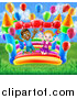 Vector Illustration of a Happy White Girl and Black Boy Jumping on a Bouncy House Castle at a Party by AtStockIllustration
