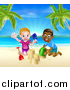 Vector Illustration of a Happy White Girl and Black Boy Playing and Making Sand Castles on a Tropical Beach by AtStockIllustration