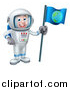 Vector Illustration of a Happy White Male Astronaut in a Space Suit, Holding an Earth Flag by AtStockIllustration