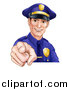 Vector Illustration of a Happy White Male Police Officer Pointing Outwards by AtStockIllustration