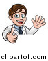 Vector Illustration of a Happy White Male Scientist Waving and Giving a Thumb up over a Sign by AtStockIllustration