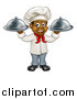 Vector Illustration of a Happy Young Black Male Chef Holding Two Cloche Platters by AtStockIllustration