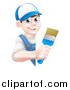 Vector Illustration of a Happy Young Brunette Caucasian Male House Painter Holding a Brush Around a Sign by AtStockIllustration