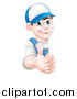 Vector Illustration of a Happy Young Brunette Caucasian Mechanic Man in Blue, Wearing a Baseball Cap, Giving a Thumb up Around a Sign by AtStockIllustration