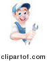 Vector Illustration of a Happy Young Brunette Caucasian Mechanic Man in Blue, Wearing a Baseball Cap, Holding a Wrench Around a Sign by AtStockIllustration