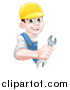 Vector Illustration of a Happy Young Brunette Caucasian Mechanic Man in Blue, Wearing a Baseball Cap, Holding an Adjustable Wrench Around a Sign by AtStockIllustration