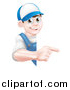 Vector Illustration of a Happy Young Brunette Caucasian Mechanic Man in Blue, Wearing a Baseball Cap, Pointing Around a Sign by AtStockIllustration