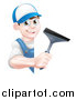 Vector Illustration of a Happy Young Brunette Caucasian Window Cleaner Man in Blue, Holding a Squeegee Around a Sign by AtStockIllustration