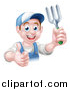 Vector Illustration of a Happy Young Brunette White Male Gardener in Blue, Holding a Garden Fork and Thumb up over a Sign by AtStockIllustration