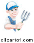 Vector Illustration of a Happy Young Brunette White Male Gardener in Blue, Holding a Garden Fork Around a Sign by AtStockIllustration