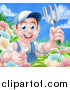 Vector Illustration of a Happy Young Brunette White Male Gardener in Blue, Holding up a Garden Fork and Thumb in a Flower Garden by AtStockIllustration