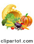 Vector Illustration of a Harvest of Fall Vegetables and a Thanksgiving Cornucopia by AtStockIllustration