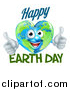 Vector Illustration of a Heart Shaped Globe Mascot Giving Two Thumbs Up, with Happy Earth Day Text by AtStockIllustration