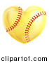 Vector Illustration of a Heart Shaped Softball by AtStockIllustration