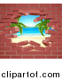 Vector Illustration of a Hole in a 3d Brick Wall, Revealing a Tropical Beach by AtStockIllustration