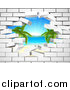 Vector Illustration of a Hole in a 3d White Brick Wall, Revealing a Tropical Beach by AtStockIllustration