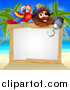 Vector Illustration of a Hook Handed Pirate Captain with a Parrot over a Blank Sign on a Tropical Beach by AtStockIllustration