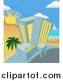 Vector Illustration of a Hotel on a Tropical Beachfront by AtStockIllustration