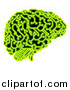 Vector Illustration of a Human Brain with Electrical Circuits in Neon Green by AtStockIllustration