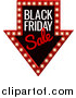 Vector Illustration of a Illuminated Marquee Arrow Sign with Black Friday Sale Text by AtStockIllustration