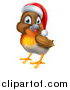 Vector Illustration of a Jolly Christmas Robin in a Santa Hat, Facing Left by AtStockIllustration