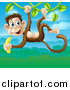 Vector Illustration of a Jungle Monkey with a Banana, Swinging on a Vine over a Jungle Landscape by AtStockIllustration