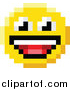 Vector Illustration of a Laughing 8 Bit Video Game Style Emoji Smiley Face by AtStockIllustration