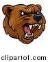 Vector Illustration of a Mad Grizzly Bear Mascot Head by AtStockIllustration