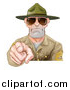 Vector Illustration of a Mad White Male Army Boot Camp Drill Sergeant Wearing Sunglasses and Pointing at You by AtStockIllustration
