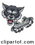 Vector Illustration of a Mad Wolf Mascot Holding a Video Game Controller by AtStockIllustration