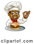 Vector Illustration of a Male Chef Holding a Cheeseburger on a Tray and Gesturing Perfect by AtStockIllustration