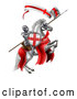 Vector Illustration of a Medieval Knight, Saint George, on a White Horse by AtStockIllustration