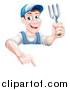 Vector Illustration of a Middle Aged Brunette White Male Gardener in Blue, Holding a Garden Fork and Pointing down over a Sign by AtStockIllustration
