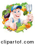 Vector Illustration of a Middle Aged Brunette White Male Gardener in Blue, Holding up a Garden Fork and Giving a Thumb up in a Wreath of Produce by AtStockIllustration