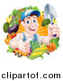 Vector Illustration of a Middle Aged Brunette White Male Gardener in Blue, Holding up a Shovel and Giving a Thumb up in a Wreath of Produce by AtStockIllustration