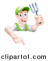 Vector Illustration of a Middle Aged Brunette White Male Gardener in Green, Holding a Garden Fork and Pointing down over a Sign by AtStockIllustration
