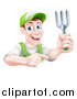 Vector Illustration of a Middle Aged Brunette White Male Gardener in Green, Holding up a Garden Fork and Pointing by AtStockIllustration