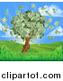 Vector Illustration of a Money Tree with Cash Falling off in a Hilly Landscape with a Sunrise by AtStockIllustration