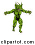 Vector Illustration of a Muscular Aggressive Green Dragon Man Mascot Walking Upright by AtStockIllustration