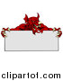Vector Illustration of a Muscular Aggressive Red Welsh Dragon Man Mascot Holding a Blank Sign by AtStockIllustration