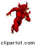 Vector Illustration of a Muscular Aggressive Red Welsh Dragon Man Mascot Sprinting Upright by AtStockIllustration